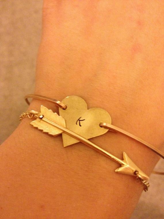 Arrow Bangle Bracelets- Heart Bangle Bracelet- Personalized Jewerly-Lovers Bracelet Set- Bridesmaids Gifts