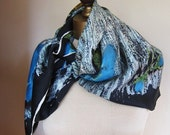 1950s silk scarf  black and blue