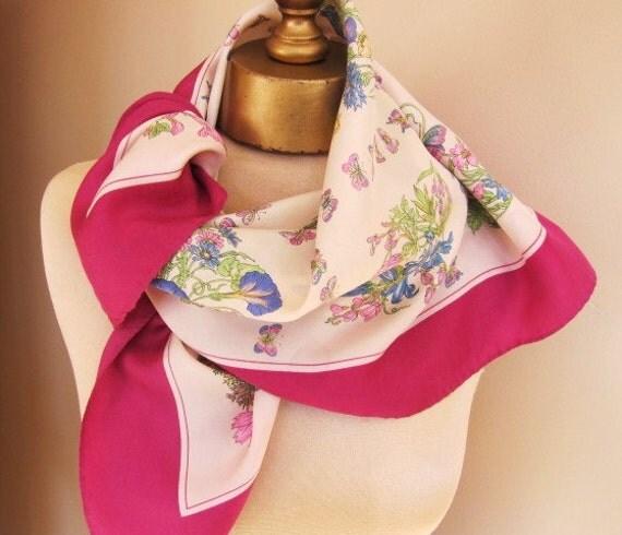 French Designer silk scarf Think Spring butterflies