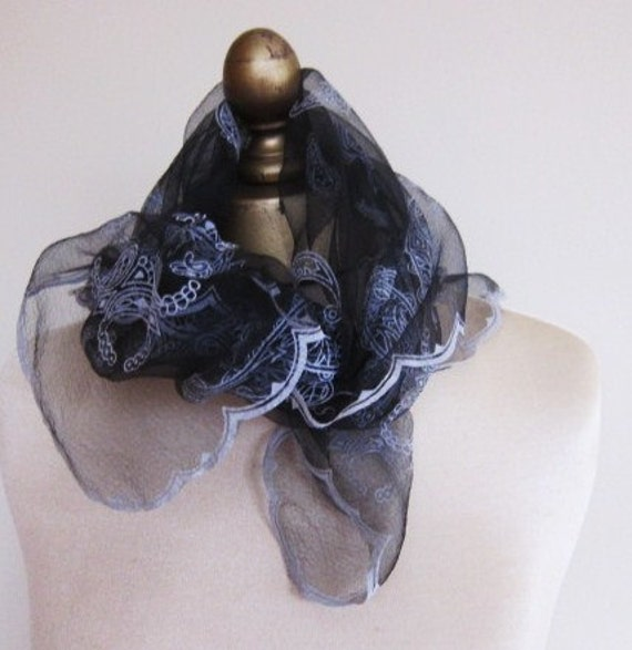 1950s black sheer chiffon flocked scarf