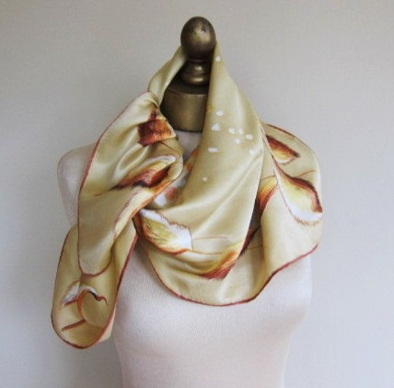 Silk scarf , 1940s , golden wheat