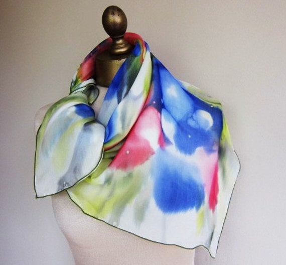 RESERVED for Susan.    French double chiffon hand painted vintage scarf from Harrods 50s 60s