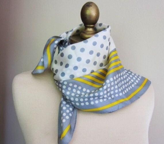 1960s polka dot silk scarf grey and yellow