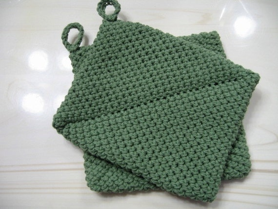 Pot Holders Sage Green Crocheted Double Thick