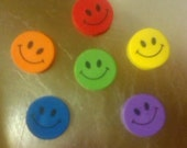 Happy Smile Smiley Face Refrigerator Magnet Set Red Orange Yellow Green Blue Purple