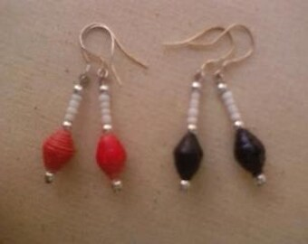 2 Pair Black and Pink Red Paper Bead Earrings w/ White Seed Beads