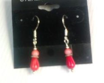 Petite Ruby Red and Pink Coral Drop Earrings Sterling Silver