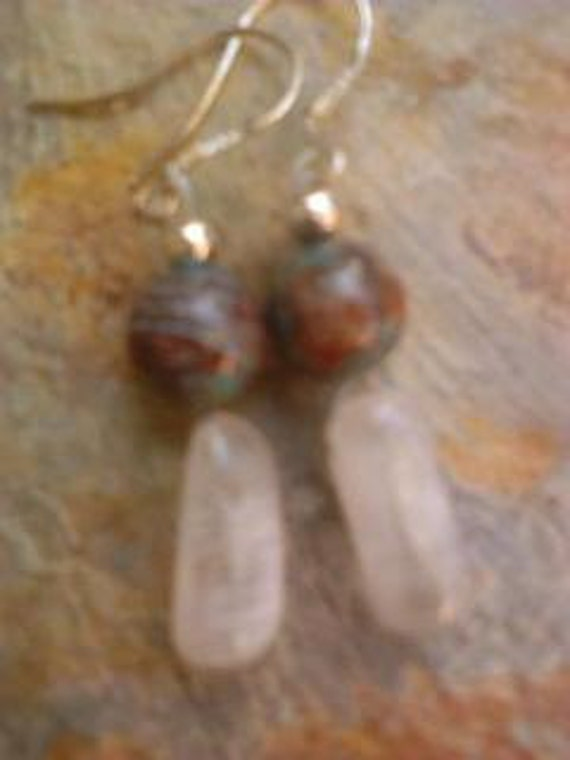 Rainbow Jasper White Crystal Quartz Stone Drop Earrings Reiki Healing
