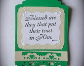 Custom handstamped Christian bookmarks - with Bible verse (5 in a pack/order)