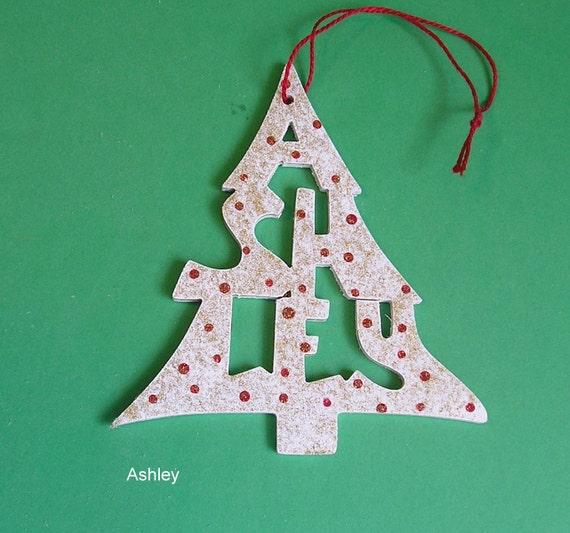 Personalized Name Ornament, tree shaped