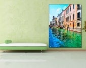 HDR Venice water canal and old house photo, Canvas oil printing.