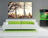3 Panels,Manhattan New York , jersey view, Canvas oil printing.