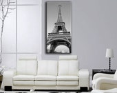 Eiffel tower , black and white artistic photo, Canvas oil printing.