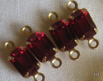 4 Ruby Swarovski Crystal Rhinestone 13MM Brass Connector Rectangle