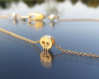 gold skull necklace, tiny skull necklace, skull necklace, gift under 25, halloween jewelry