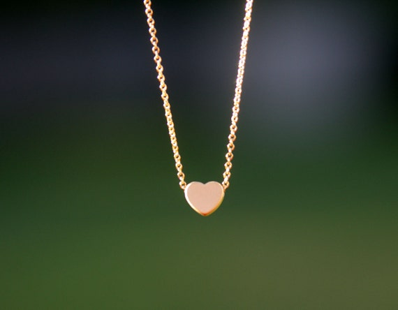 gold heart necklace, 16 inches necklace, gift under 20, bridesmaid gift, Valentine's day gift