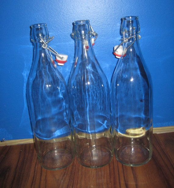 Italian Clear Glass Driveway: 2 Bormioli Rocco Clear Glass Wine Bottles From Italy Giara