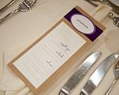 Wedding Menu- Maile Purple - Natural, Rustic, Elegant, Shabby Chic