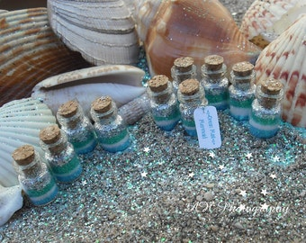 Mermaid Favors Ocean Mist Mermaid tiny jars, Mermaid Party Favors, blue, green, silver, aqua, teal, mint, Ocean Favor, Beach, Mermaids