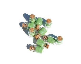 Fairy Jars set of 10 Green, Fairy Tale, Princess, Tiny, party favor, Pixie