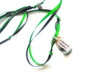 Pirate Powder Necklace, Black, Green, White, Pirate Party, Pirate favor