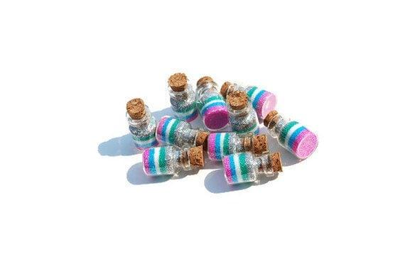 Mermaid Favors, set of 10 Ocean Mist Mermaid jars, Mermaid Party Favors, blue, green, silver, pink