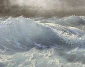 "Crushing Wave,  4""x 6""  original oil painting on 1/8 artist board."