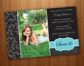 Printable Sweet 16 Invitations / Sweet Sixteen Invitations - Blue
