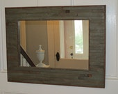green rustic mirror