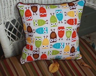 """Woodland Owl Pillow in Reds, Limes, Yellows, Browns - """"Give a Hoot Pillow"""""""