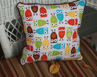 """Owl Pillow in Reds, Limes, Yellows, Browns - """"Give a Hoot Pillow"""""""