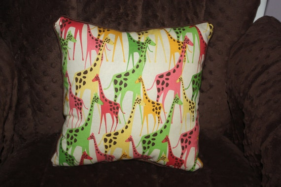 """CLEARANCE - Giraffe Pillow in Lime Green, Yellow, and Hot Pink on White with Chocolate Brown Trim and Backing - """"Jumble of Giraffes Pillow"""""""