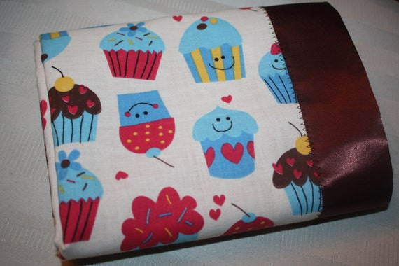 """Retro Cupcake Blanket in Berry Pink, Light Blue, Yellow and Brown with Hot Pink Satin Backing - """"Sweet as Cupcakes Blanket"""""""