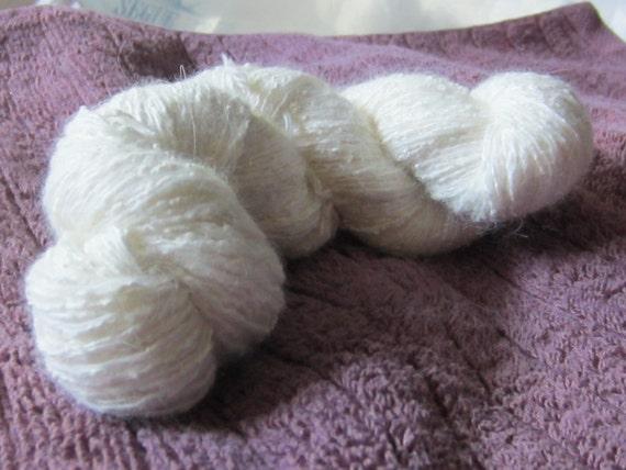 """Silk Angora blend yarn, 164 yards, sport/dk weight, """"Clabbered Cream"""""""