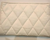 Make-up Case Quilted Winter White Pin Stripe
