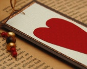 Valentines Day Bookmark Beaded Paper Semi-Precious Graphic Heart