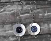 Earrings with Pearl Buttons - 2.5 inch