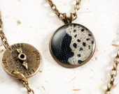 Antiqued brass Necklace decorated with Lace and covered with Clear Resin - 10 inch (26 cm)