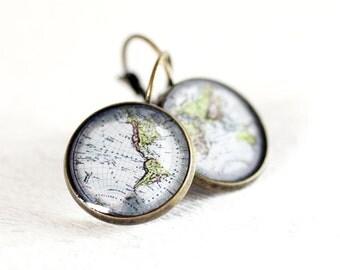 World Map Earrings Brass earrings Bronze Earrings Simple Brass World Map Earrings Antique earrings Dangle Earrings