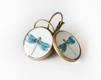 Dragonfly Clear Resin Earrings, Dragonfly earrings 3/4 inch (16mm)