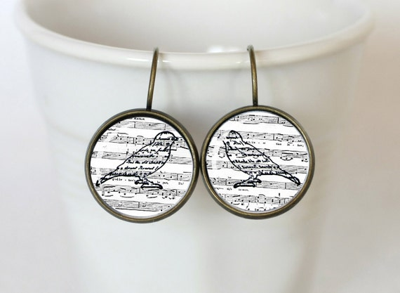 Singing Birds Vintage Earrings 3/4 inch (16mm), shabby chick, Art noveau