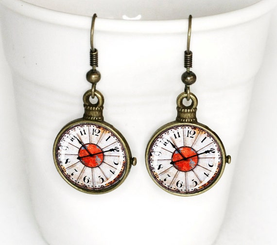 Vintage Clock Earrings covered with Glass Cabochon 3/4 inch (16mm)