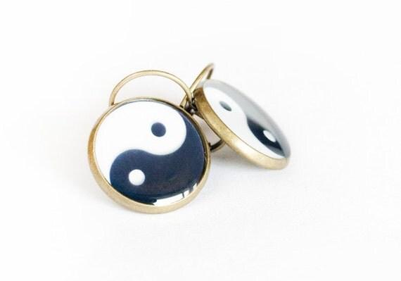 Yin Yang Clear Resin Earrings 3/4 inch (16mm)