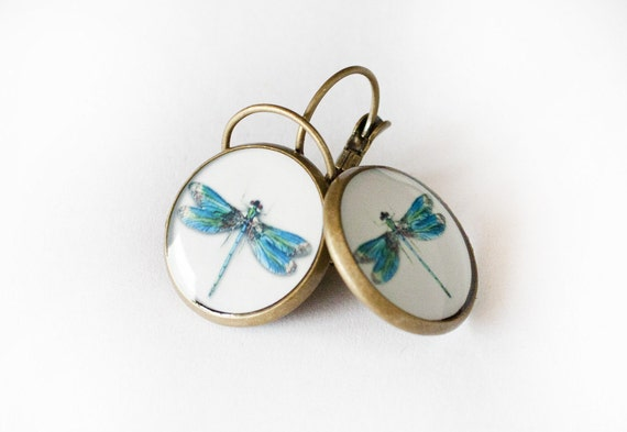 Dragonfly Clear Resin Earrings, Dragonfly earrings 3/4 inch (16mm)