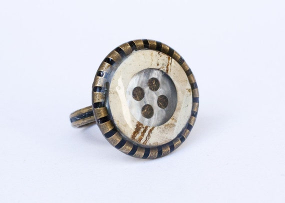 OOAK Button Clear Resin Ring 3/4 inch (18mm)