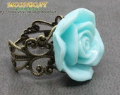 Retro Style Blue Resin Flower Ring  Adjustable MB044