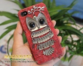 Red Hard Case Cover With Silvery Owl ,Branch for iPhone 4 Case, iPhone 4s Case, iPhone 4 Hard Case, iPhone Case MB184