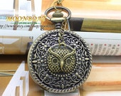 The Leaves Around The Cane And Cute Owl Pocket Watch Necklace MB219