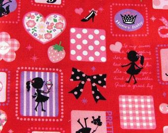 Kawaii Pretty Girl Red Japanese Cotton Fabric