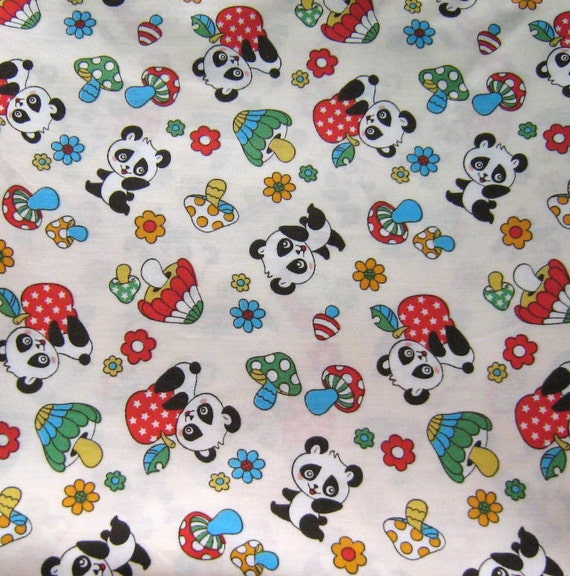 Cute Panda And Mushroom Japanese Cotton Fabric
